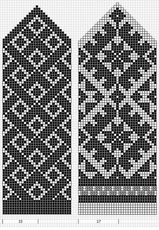 жаккардовый двухцветный узор спицами схемы