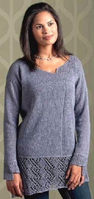Пуловер с неровными краями спицами