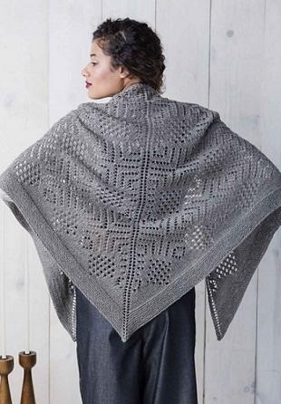 Треугольная шаль спицами