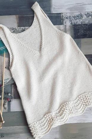 Вязание летней майки спицами