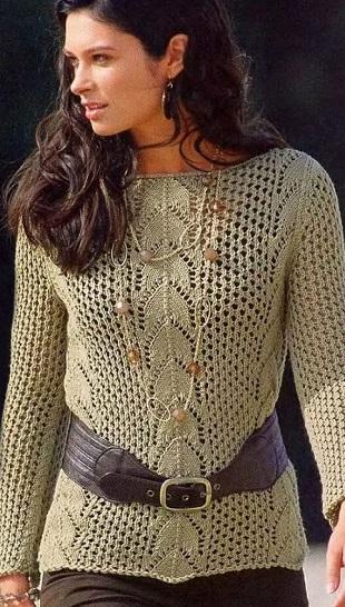 Сетчатый пуловер спицами