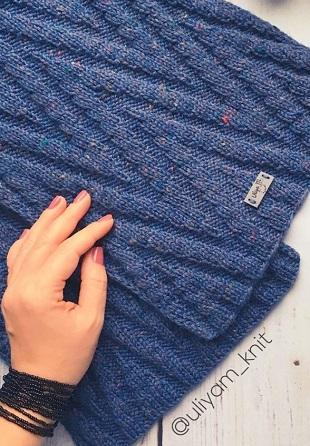 Геометрический узор для вязания шарфа спицами