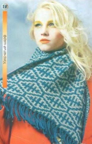 Узорчатый шарф спицами