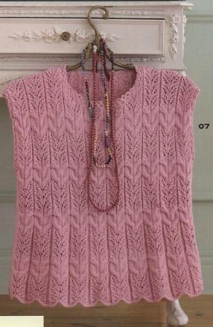 Вязание розового топа спицами